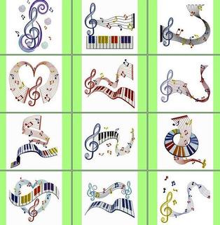 Matriz Bordado Notas Musicais Lindo