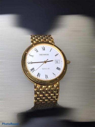 Relógio De Ouro 18k  Com Vidro De Safira, Marca Technos.