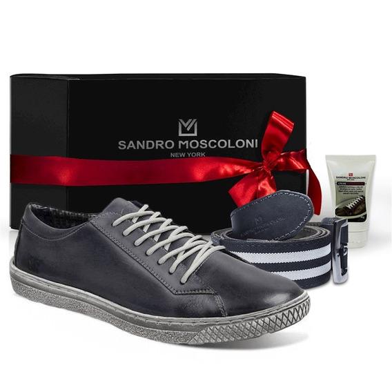 Sapatênis + Cinto Masc. Sandro Moscoloni New Street Jeans