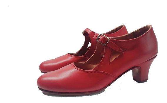 Zapatos De Español Y Folklore En Cuero Rojo