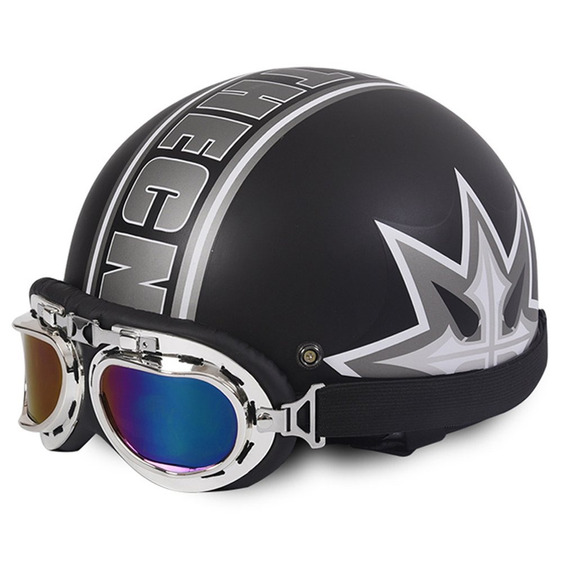 Metade Rosto Aberto Capacete Motocicleta Com Goggles Viseira