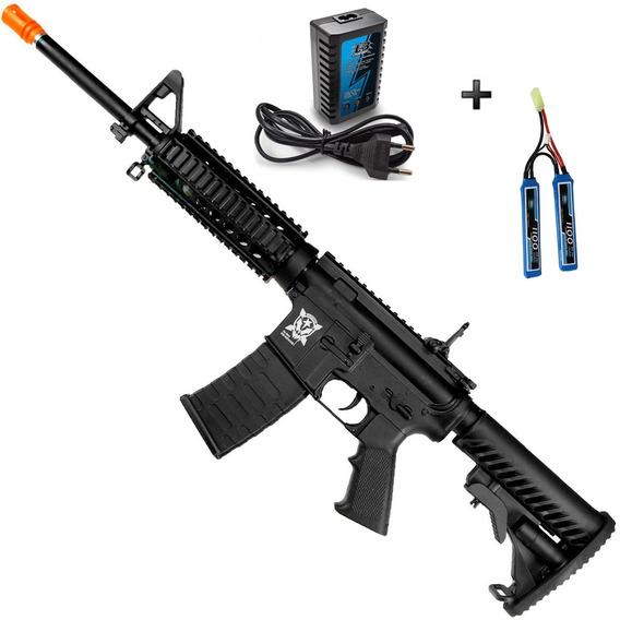 Rifle De Airsoft Elétrico Aps M4 Ris Blowback + Kit Lipo