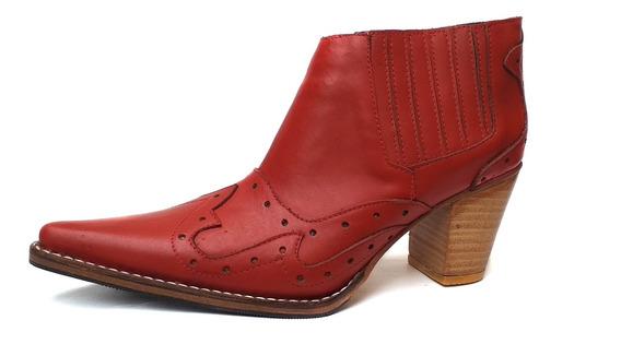 Zapato Mujer Bota Texana Cuero Rojo Artesanal Horma Comoda