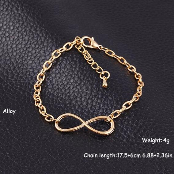 Chapeamento De Metal Cruz De Ouro Infinito Bracelet & Bangle