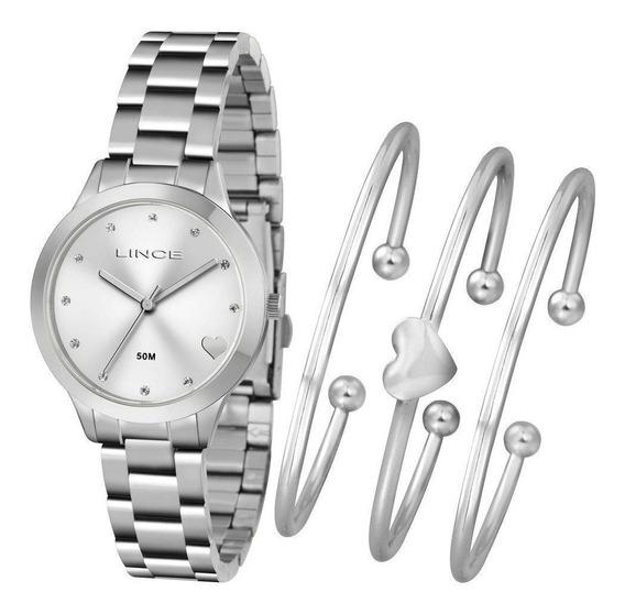 Kit Relógio Feminino Lince Com Brancelete Lrm4450l Kt85