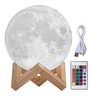 Velador Luna Llena Impreso 3d Eco Sustentable Led 16 Colores