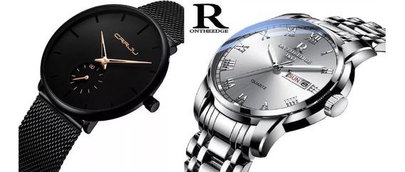 2 Relógios Masculino Pulseira Preta Crrju E Luxo Ontheedge