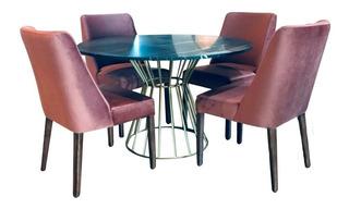 Antecomedor Diseño Moderno Mueble Decoración Hogar Interior Redondo Mesa Mármol Base Dorada Set 4 Sillas Madera De Pino