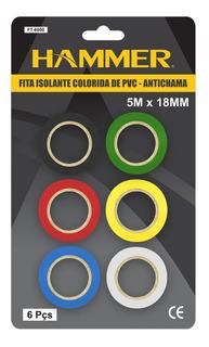 Kit Com 6 Fita Isolante 5 M Coloridas Hammer