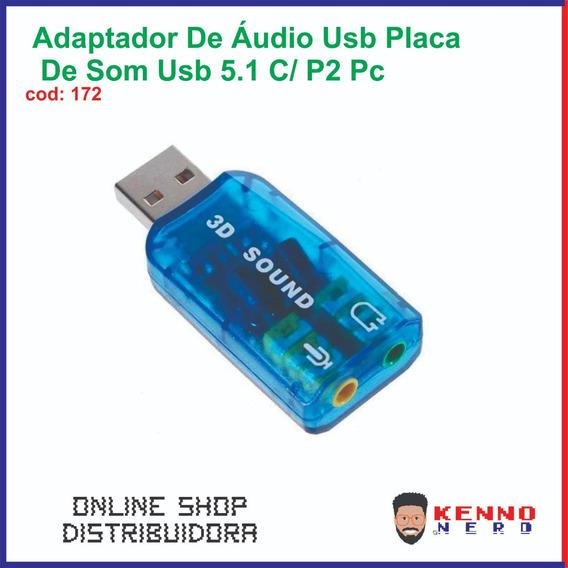 Adaptador De Áudio Usb Placa De Som Usb 5.1 C/ P2 Pc