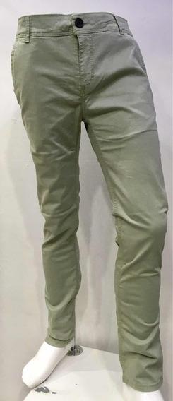 Pantalón De Gabardina Verde Pistache Skinny