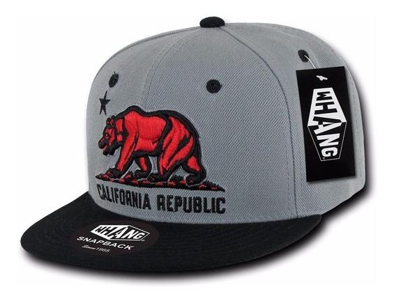 Gorra Whang California Republic 3d Bear Snapback Gris / Negr