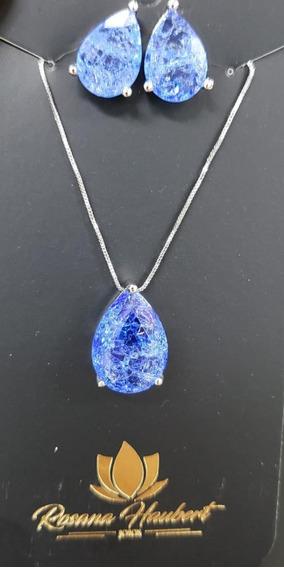 Colar Gota Pedra Rutilada Azul +frete Grátis +brinde 12vezes