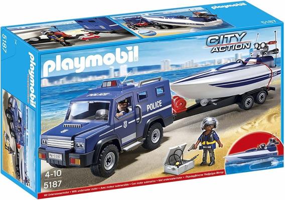 Playmobil City Action Camioneta Y Lancha De Policia 5187