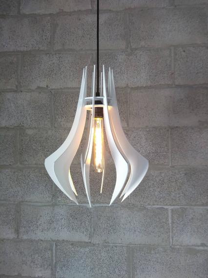 Luminária Lustre Pendente De Madeira 37x29cm ( Nacional )