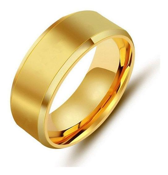 Anel De Noivado Dourado Aço Inox Qualidade Super Oferta