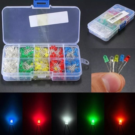 Kit 500 Leds 3mm Difuso 5 Cores 100 Peças De Cada + Caixa