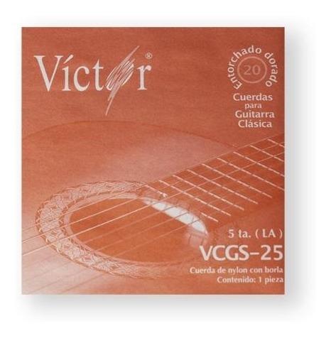 Imagen 1 de 1 de Cuerda Victor 25(10) Guitarra Clasic 5t Nylon Negro C/borla