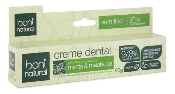 Creme Dental Boni Natural Menta E Melaleuca 90g