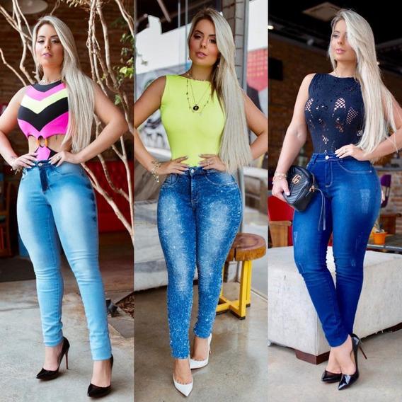 Calça Jeans Feminina Cintura Alta Modela Levanta Bumbum