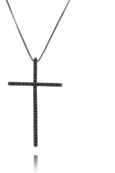 Colar Cordão Crucifixo Cravejado Zircônias Banho Ródio Negro