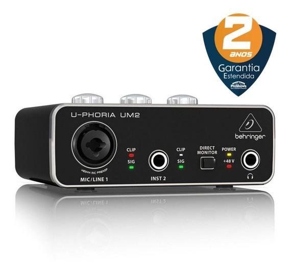 Interface De Áudio Behringer U-phoria Um2 Usb 48 Khz + Nf