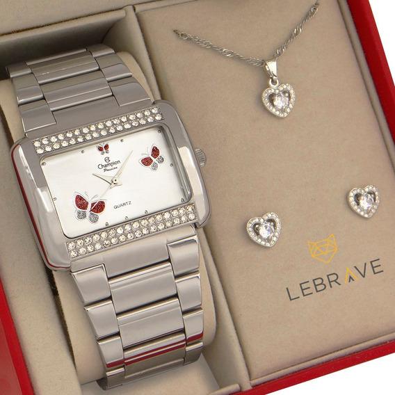 Relógio Feminino Champion Prata Original 1 Ano De Garantia