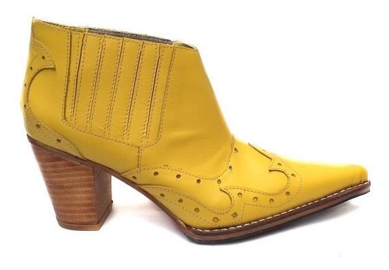 Bota Mujer Tipo Tejana Cuero Amarillo Modelo Artesanal 2020