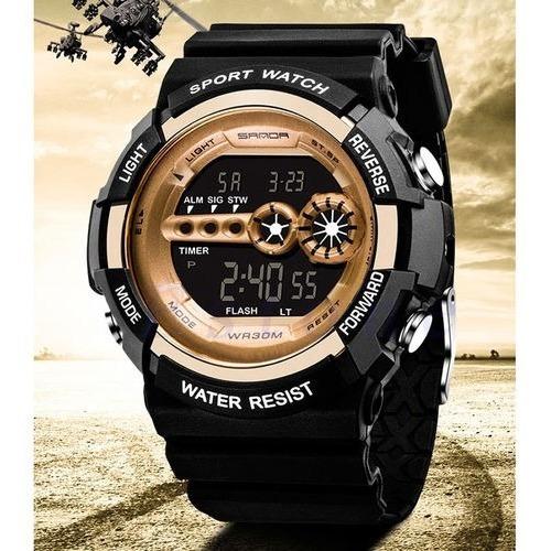 Relógio Militar Digital Sanda Esportivo Dourado Promoção
