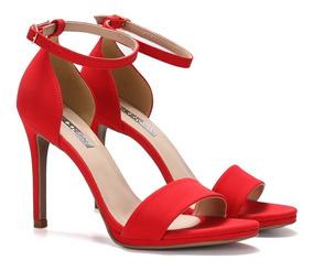 Sandália Vermelha De Salto Fino Alto - New Elegance