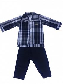 Conjunto Masculino Infantil Camisa Tricoline Calça Brim 5030