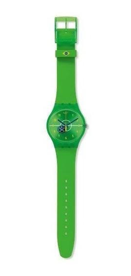 Relógio Swatch Enthusiasmo Suoz175 Silicone Verde Original