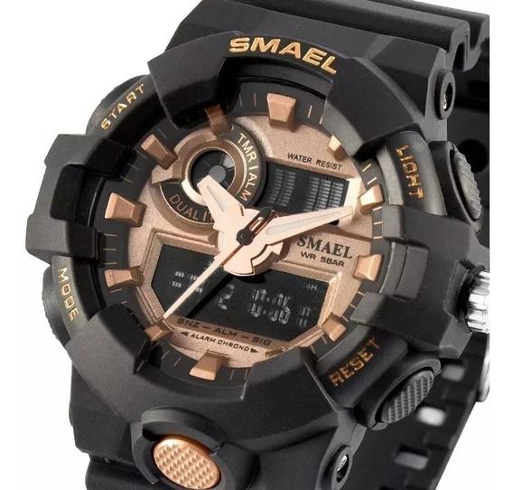 Relógio Militar Esportivo Digital Smael 1642 Gold Original