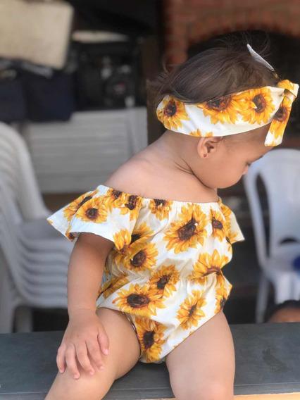 Body Bebê De Menina Infantil Mesversário Girassol Amarelo