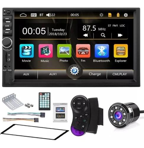 Imagen 1 de 10 de Radio Carro Bluetooth + Camara Usb Sd Pantalla 7 Hd Mod 2020