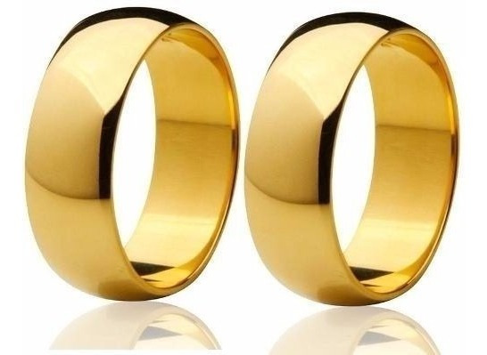 Par De Aliança Em Ouro 18k Com 5mm 6grs Boliada Polida