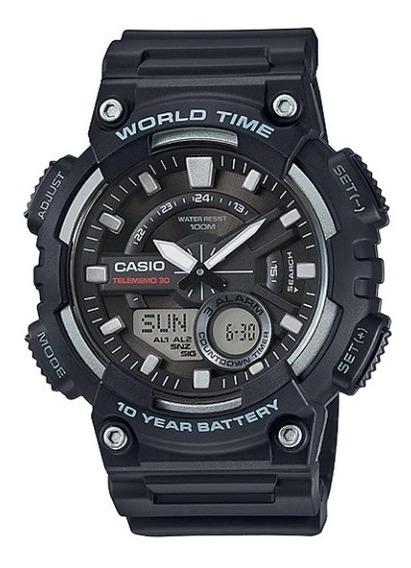 Relógio Casio Standard Preto Aeq-110w-1avd 12565 Original