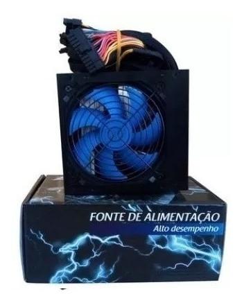 Fonte Atx 750w Reais Cooler 120mm Azul C/cabo Box Ep-c750