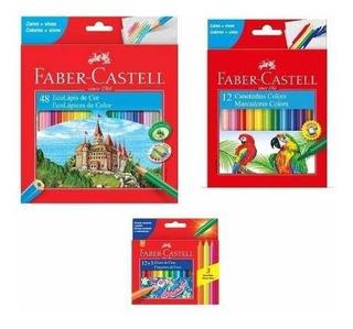 Lápis Cor Faber 48 Cores+ Canet. Hid. 12 Cores+ Giz 15 Cores