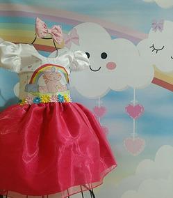 Vestido Infantil Unicórnio Festa Passeio Menina Lindo Rosa