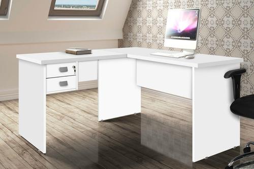 Mesa Para Computador Em L Espaçosa Com 2 Gavetas 1 Chave Pr