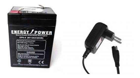 Kit Bateria 6v 4,5ah + Carregador Moto Elétrica Carro