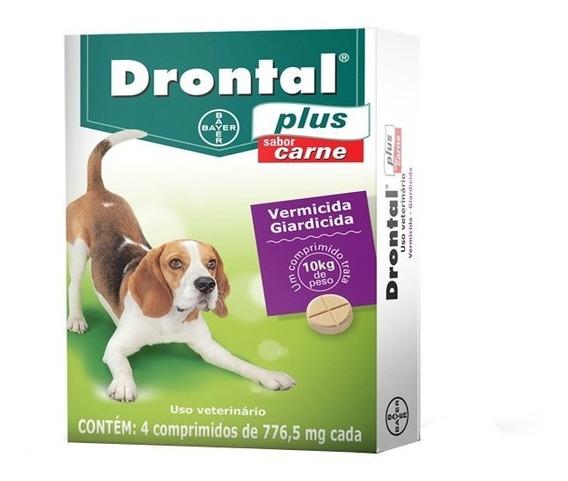 Vermífugo Drontal Plus Carne Cães Até 10kg Cx 4 Comprimidos
