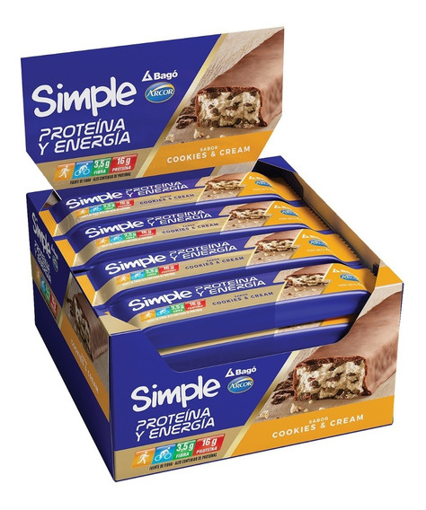 Simple Barra Proteina Y Energia Sabor Cookies & Cream