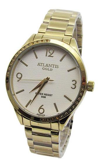 Relogio Feminino Atlantis G3502 Dourado Fundo Branco