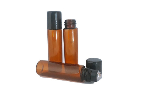 10pz Envase-botella Rollon 5 Ml Vidrio/cristal Ambar (it-36)