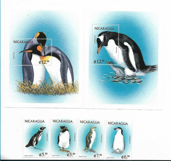 1999 Fauna- Aves- Pinguinos- Nicaragua (bloques Y Serie) Mnh