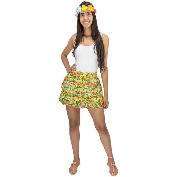 Saia Amarela Curta Feminina Carnaval Babado Estampa Floral