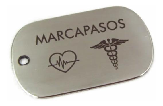 Placa Medica Marcapasos Personalizada Gratis Con Láser, Cadena Bolitas De Regalo, Tipo Dogtag