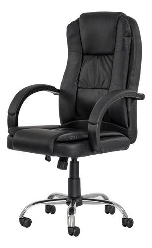 Cadeira Escritório Boss Presidente Preta Base Giratória